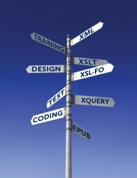 Signpost pointing to the some of the technologies Mentea uses and roles Mentea can perform